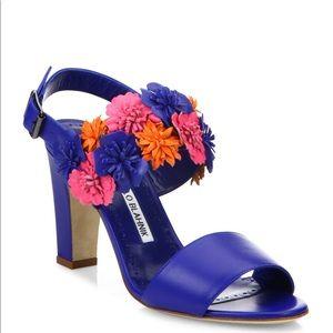 Manolo Blahnic Khanfior 90 Flower Leather Sandals